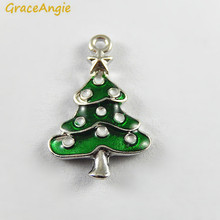 10PCS Green Enamel Small Christmas Tree Charms Wholesale Deco Handmade Crafts Necklace Pendant Accessory Jewelry
