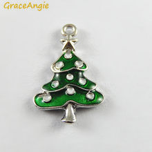10PCS Green Enamel Small Christmas Tree Charms Wholesale Christmas Deco Handmade Crafts Necklace Pendant Accessory Jewelry(China)
