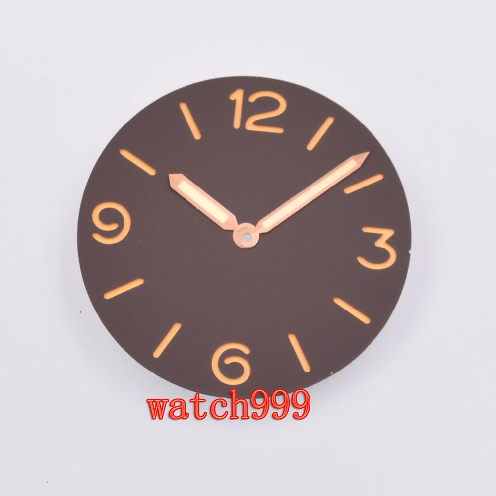 38.9mm parnis sandwich Blacl Dial Rose gold hands Sterile watch dial fit ETA 6497 6498 <font><b>ST3600</b></font> movement image