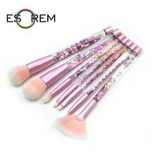 ESOREM 7pcs Transparent Crystal Makeup Brushes Synthetic Bichromatic Soft Hair Dense Fan Powder Brush Pinceau Maquillage LS0704