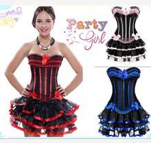 e5dc29e1d40ab plus size 5xl 6xl burlesque corsets dress with skirt costumes vintage  striped floral lace up corset