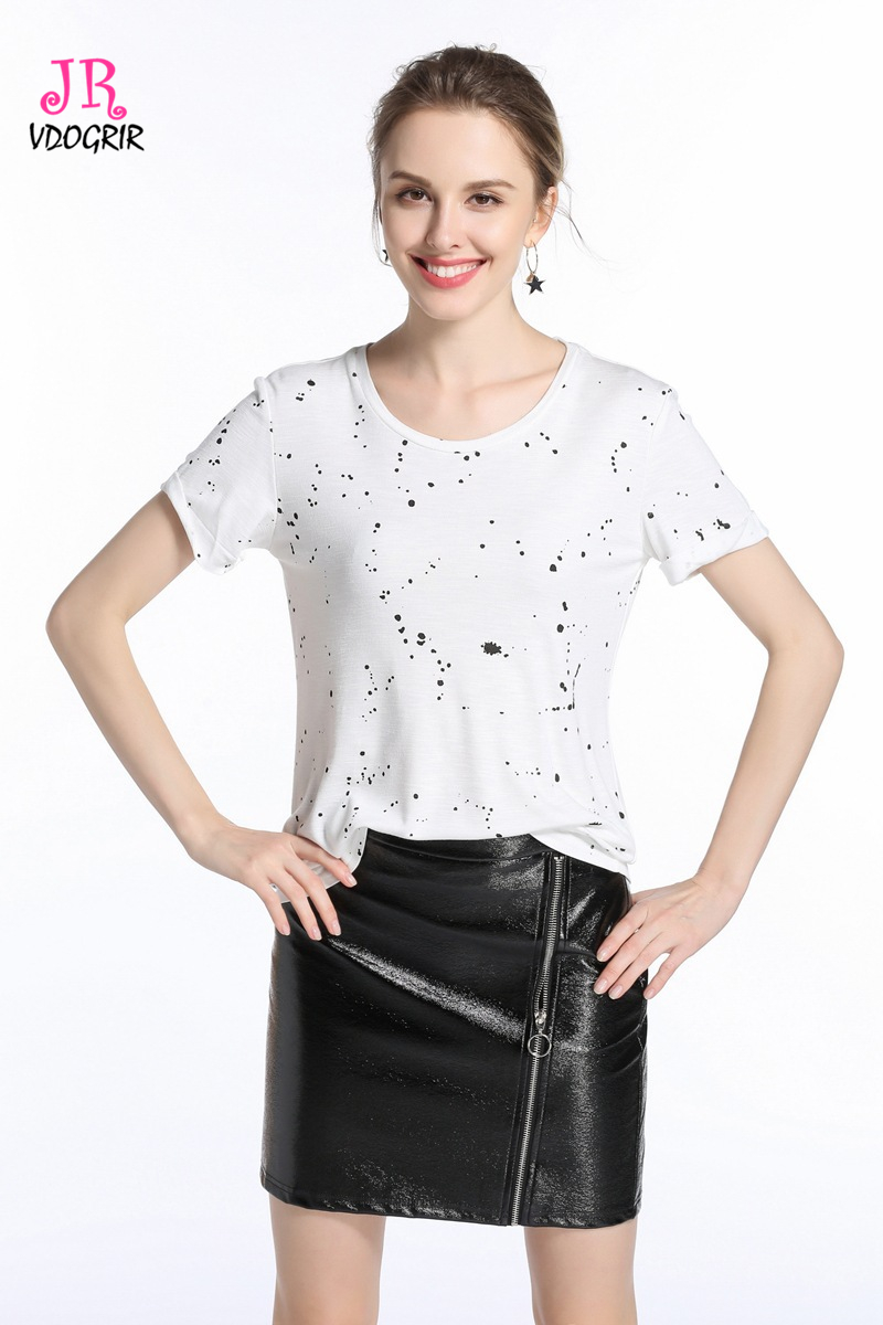 VDOGRIR Irregular Dot Print T-shirts For Women White Cotton T-shirts Tops Short Sleeves Tees One Free Size