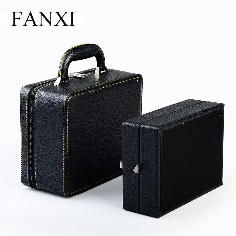 FANXI Noir PU Bijoux en cuir Cas pour Anneau Pendentif Bracelet Bracelet Collier Collection Portable Bijoux Boîtes De Voyage