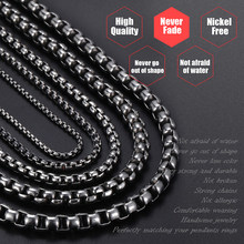 Davieslee Mens Necklace Gunmetal Thin Stainless Steel Round Box Chain Necklaces For Men Jewelry Dropshipping 2018 2-6mm DKNM06(China)