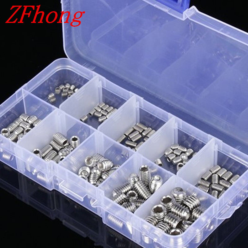 200PCS DIN916 M3 M4 M5 M6 M8 Stainless Steel Allen Head Socket Hex Set Grub Screw Assortment Cup Point 220pcs lot m3 m4 m6 m8 head socket hex grub screw assortment cup point set stainless steel 3mm 4mm 5mm 6mm 8mm 10mm 10 sizes