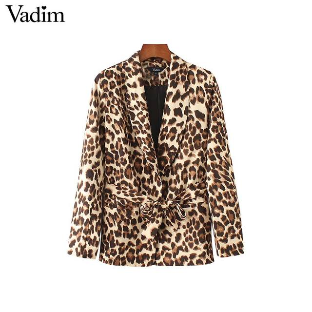 Vadim femmes élégant imprimé léopard blazer noeud papillon ceinture poches à manches longues vêtements d'extérieur femme décontracté streetwear hauts à la mode CA110