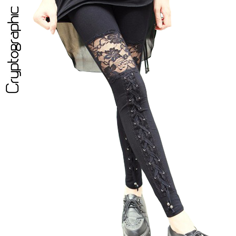 Fashion sexy fitness leggings women 2018 gothic punk rock legins lace patchwork black leggings girls skinny pencil pants clothes