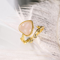 INALIS New Elegant 925 Sterling Silver Fine Jewelry Heart Pink Quartz Open Size Finger Rings for Women Gold Plated Party Bijoux
