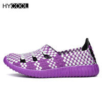 HYCOOL 2017 New Arrival Women Aqua Shoes Woven Breathable Beach Shoes Summer Casual NonSlip Colorful Hollow
