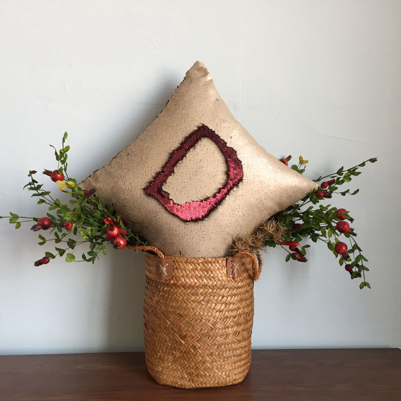 Pillowcase Decorative Mermaid Sequin Colorful Square Plain Knitted Hidden Zipper Pillow Home Car Sofa Cushion Cover 40*40cm 15