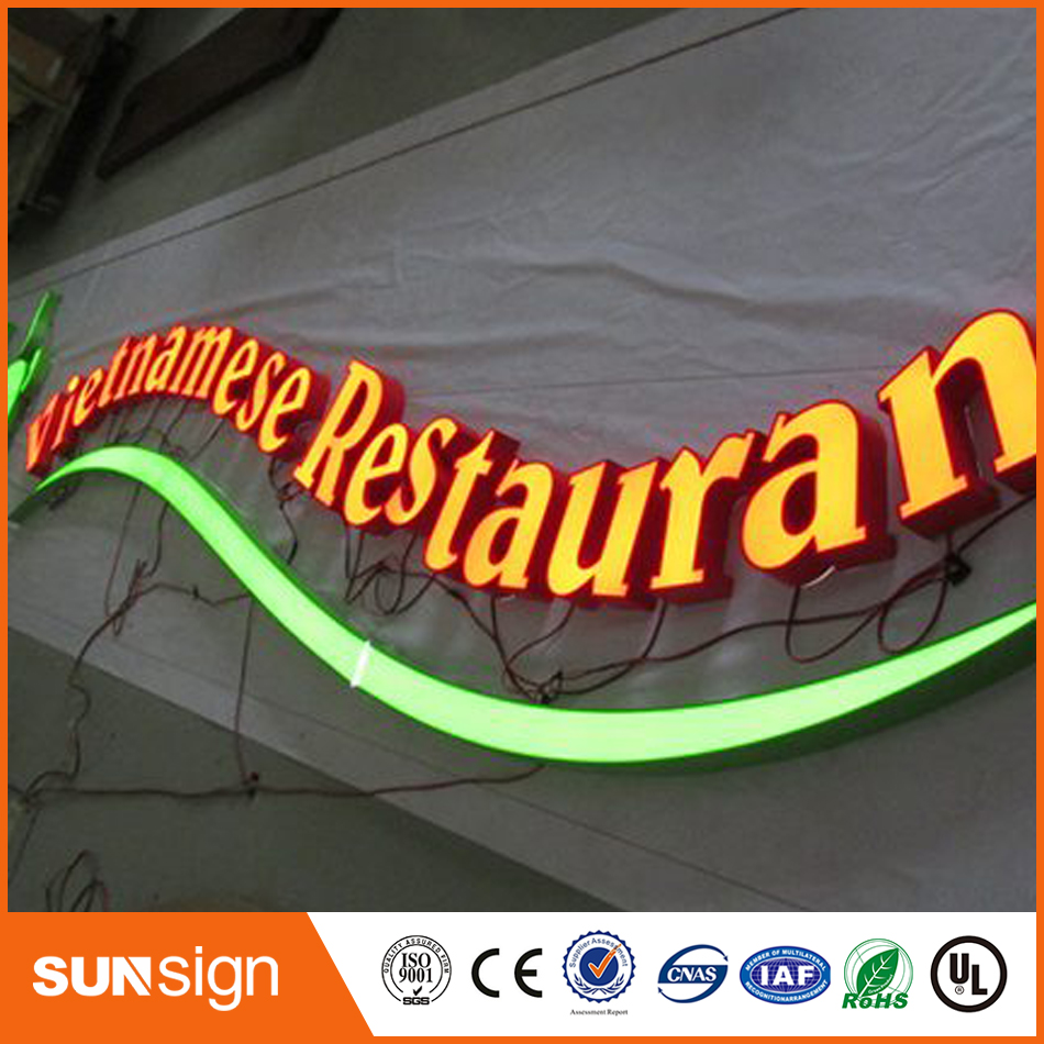 Frontlit publicité éclairée LED canal lettre Signes
