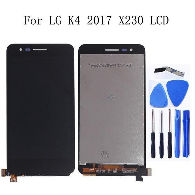 5.0 بوصة الأصلي ل LG K4 2017X230 X230i X230K X230DSF شاشة إل سي دي باللمس شاشة مع إطار طقم تصليح استبدال + أدوات