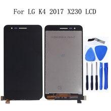 Pantalla táctil LCD Original de 5,0 pulgadas para LG K4 2017 X230 X230i X230K X230DSF, Kit de reparación de Marcos, repuesto + herramientas