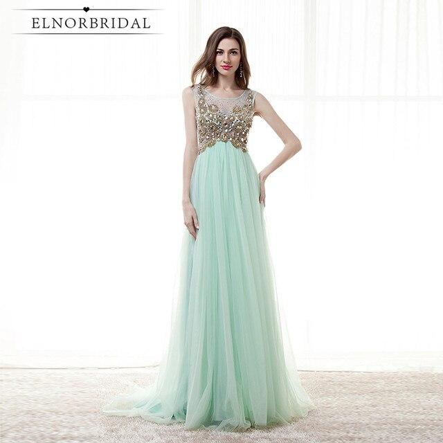 fa6ab7f68 Verde menta 2019 Vestidos de Noche vestidos para las mujeres Vestido de  Festa Longo pura espalda