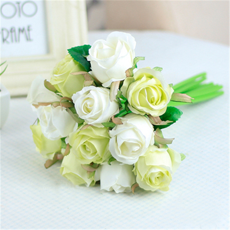 2 Bundles 24pcs Rose Holding Flowers Bouquet Thai Royal Rose Upscale Artificial  Flowers Silk Flower Rose Home Decoration Wedding
