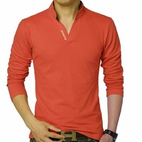 Hot Sale 2017New Fashion Men Clothes Solid Color Long Sleeve Slim Fit Thin T Shirt Men