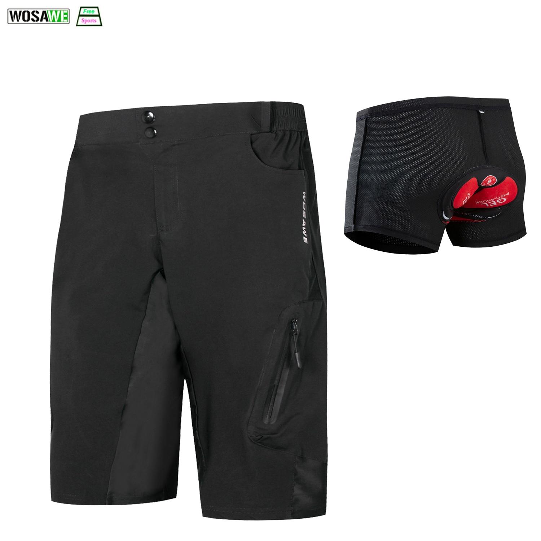 MTB Cycling Short Off Road Bicycle BMX Downhill Padded Liner Shorts