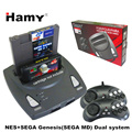 HAMY Top quality NES+SEGA Genesis/MD compact 2in1dual system game console / cartridge rom support original game card
