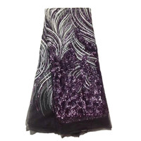 Elegant Purple Elastic French Tulle Laces Fabric for African Wedding with Sequins 33