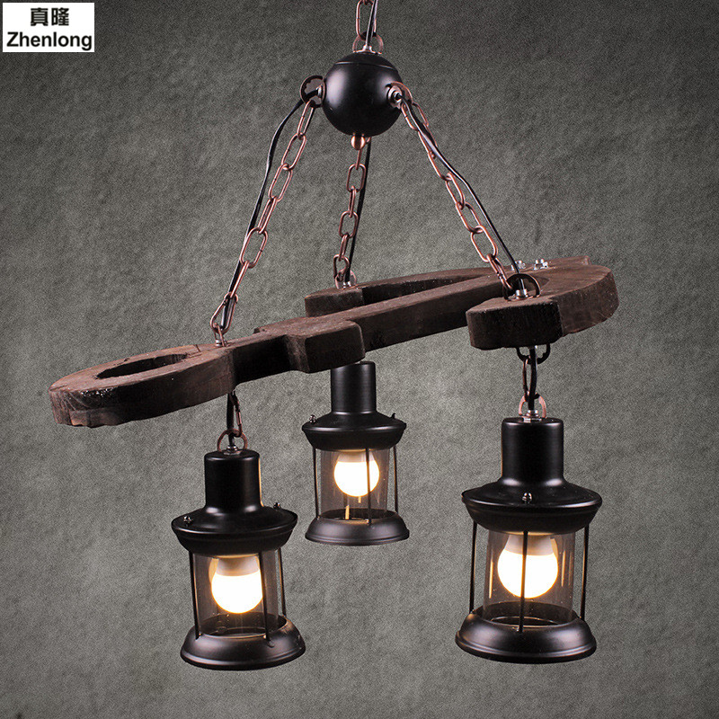 American Country Retro Industrial Wind Pendant Lamp Creative Led Bar Loft Cafe Restaurant Ship Wooden Lamps Decorative Light american style vintage loft rope pendant lights industrial wind retro pendant lamp cafe bar restaurant hanging lamps