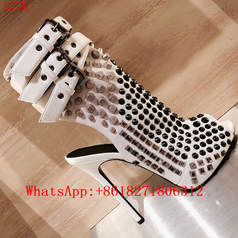 Black White Buckle Strap Rivet Studded Ankle Boots Leather Peep Toe Slingbacks Platform Spiked Shoes Women High Heels Zip Bottes
