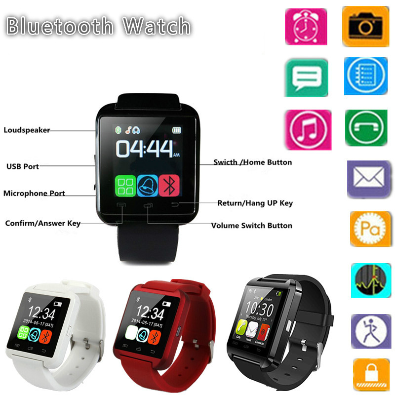 2016 Bluetooth Smart Watch U8 Sport Watch For Samsung Sony Huawei Android Phones with Pedometer Message SMS Sync Call Reminder