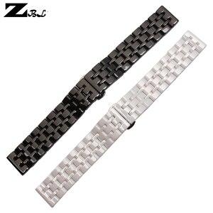 Image 5 - Correa de reloj de cerámica pura, 17mm, 20mm, correa de reloj blanca y negra, hebilla de mariposa, pulsera, correa, accesorios de reloj