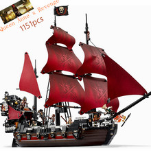 Legoing Pirates Of The Caribbean 4195 The Black Pearl Ship Lepin 16009 1151pcs Queen Anne's Revenge Movie Set Blocks Toy Gifts(China)