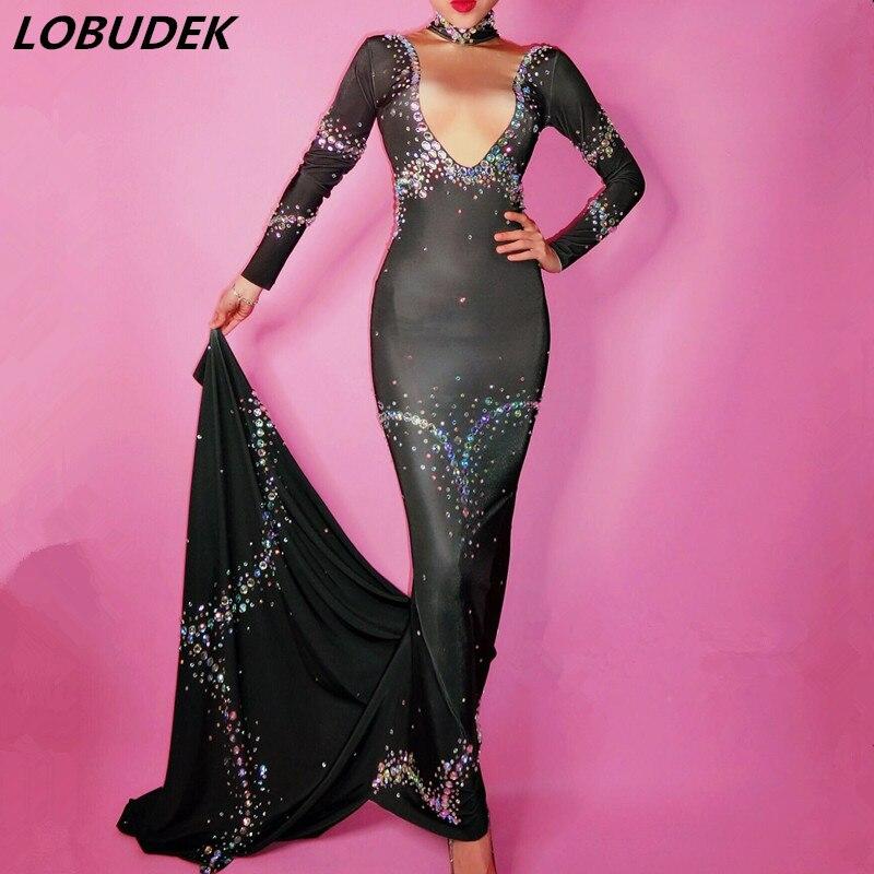 Robe de bal d'anniversaire en queue de poisson maigre noir strass extensible robe de traînée Bar femme chanteuse Catwalk Performance Costume