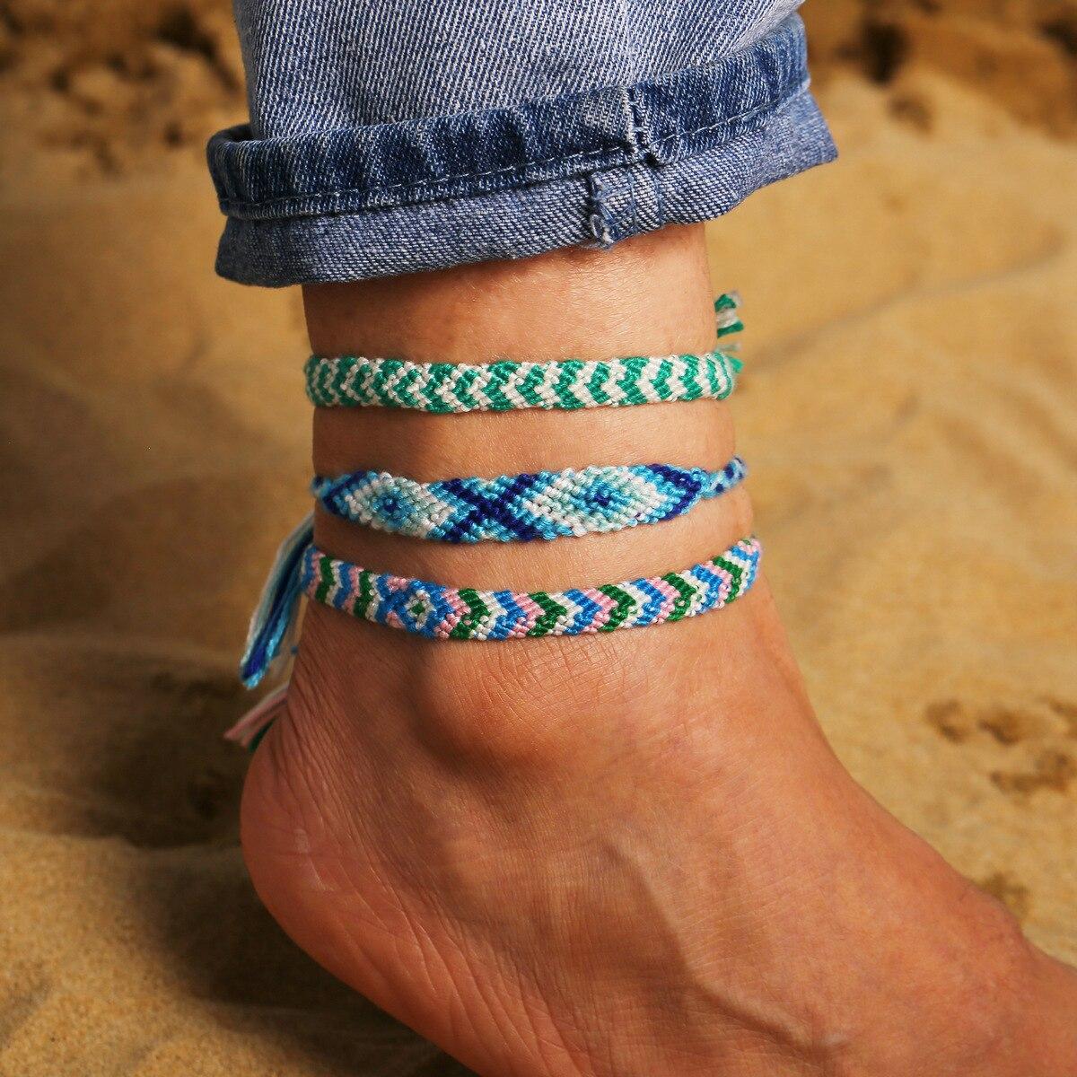 Bohemia Handmade Colorful Cotton Anklet Bracelet Female 2020 Summer Beach Sandal Leg Bracelet Vintage Rope String Ankle Bracelet 4
