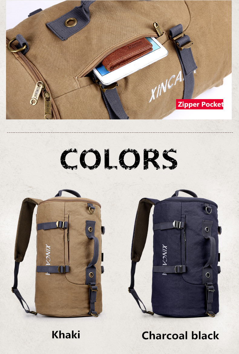 501339fe15 XINCADA Canvas Backpack Duffle Bag Travel Bag Carry on Luggage ...