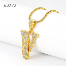MCSAYS Hip Hop Rapper Jewelry Bling Bling Irregular Pendant Iced Out Golden Hiphop CZ Necklace Unisex Fashion Accessories 3XH
