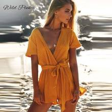 WildPinky Playsuits for Women 2019 Summer V-neck Casual Lace Up Romper Female Streetwear Shorts Rompers Womens Jumpsuit