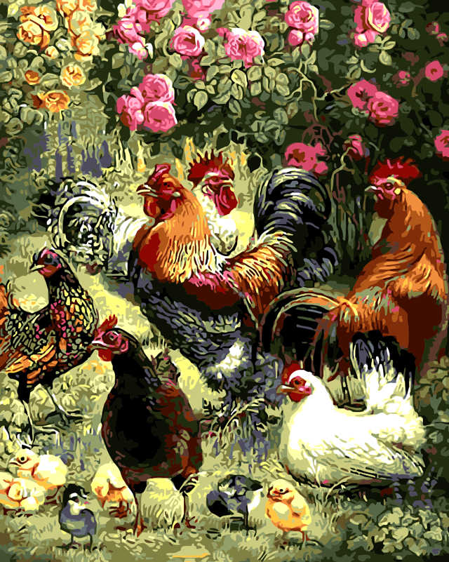 Frameless New arrival unique gift Digital Oil Painting On Canvas painting by numbers decorative picture Garden play hi chickens