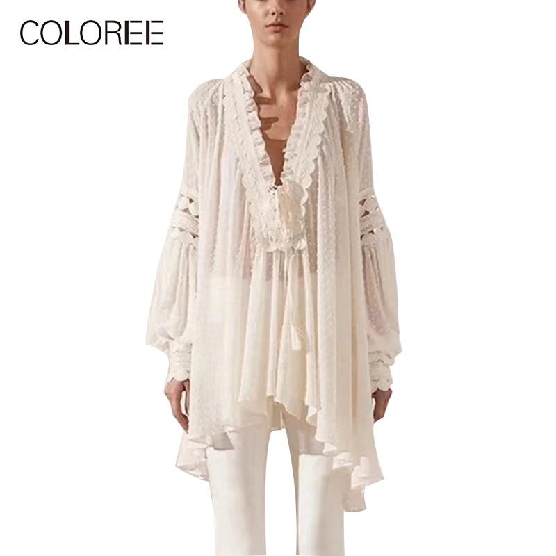 Женская Длинная блузка в богемном стиле COLOREE, белая Асимметричная блузка с v образным вырезом и вышивкой для отпуска, лето 2019
