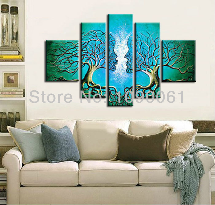 Handmade Abstract Lovers Kiss Tree Canvas Painting Turquoise 5 Panel Wall Art Modern Home Decor Picture Set Frame - Enjoy Living Museum store