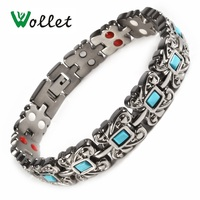 Wollet Jewelry Health Care Healing Energy Titanium Magnetic Bracelet For Women Men Turkish Stone 5 in 1 All Magnets