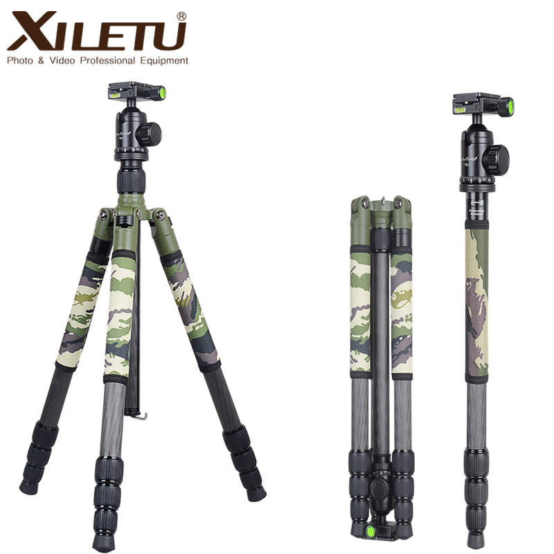 Xiletu T284C+FB1 Green Camouflage Concealed Hidden Carbon Fiber Tripod For Outdoor Travel Hunting Shooting DSLR Digital Camera