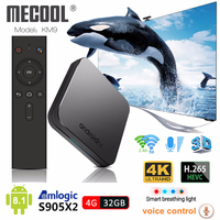 Mecool KM9 Android 8.1 Smart TV Box S905X2 4GB DDR4 RAM 32GB ROM 2.4G/5G WiFi BT 4.1 Voice Control Set Top Box 4K Media Player
