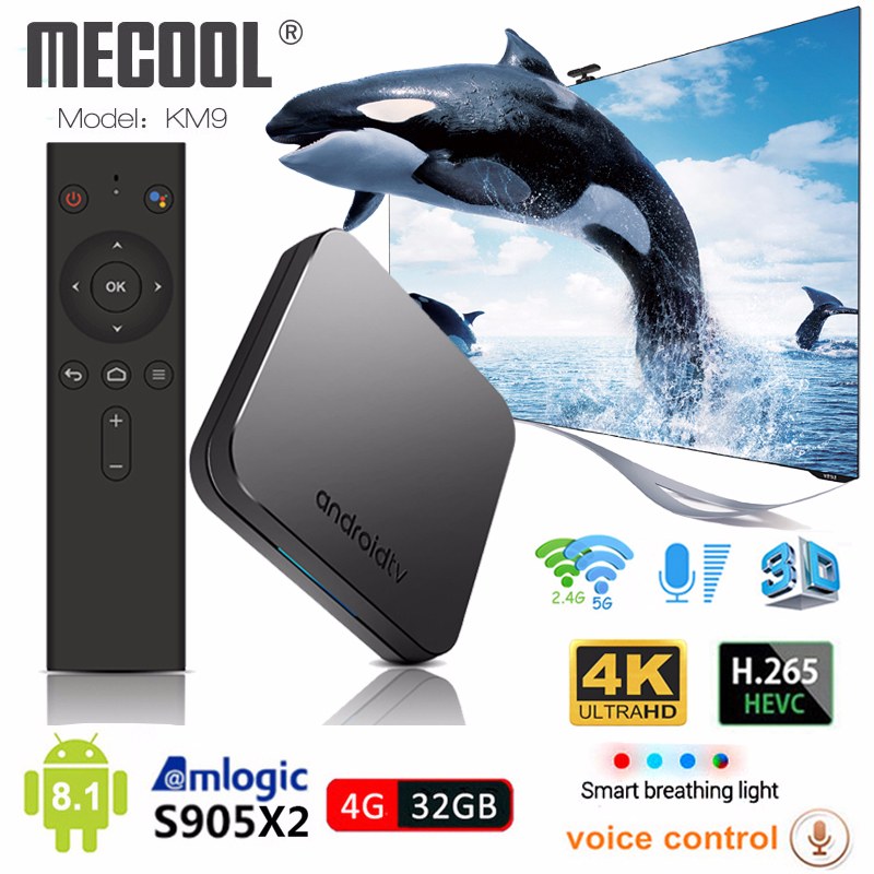 Mecool KM9 S905X2 Android TV Box 4 GB DDR4 32 2.4G GB/5G WiFi Controle de Voz Inteligente set Top Box 4 K Android 8.1 IPTV Media Player