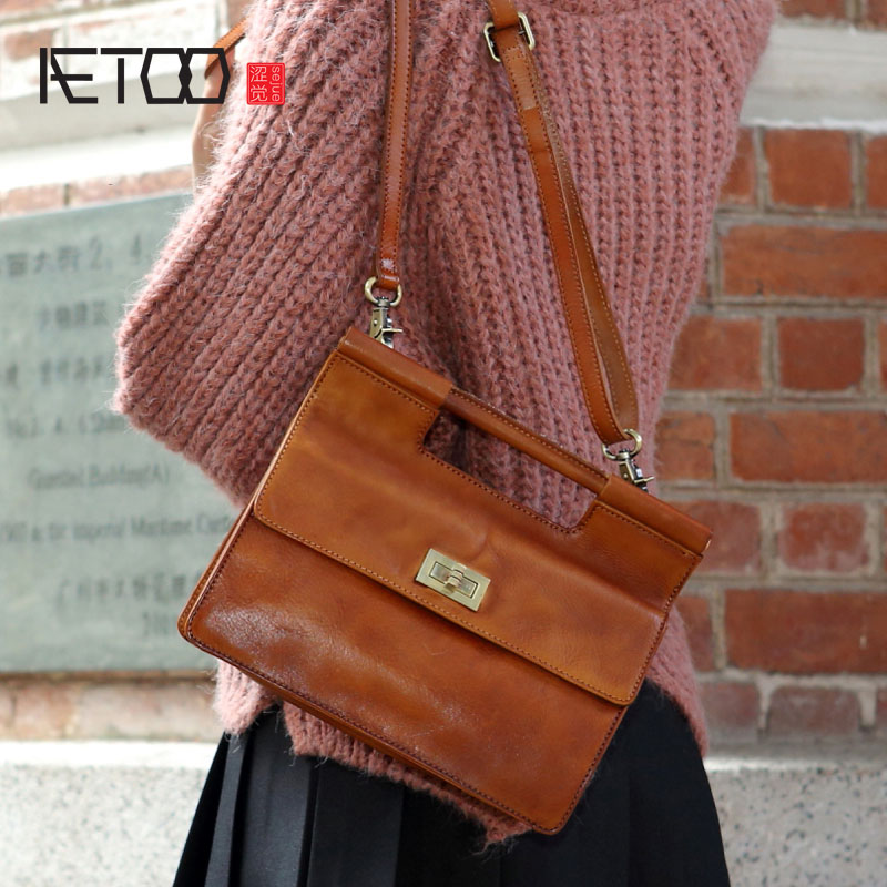 AETOO Korean version of the original personality retro color wiping the first layer of leather turtled leather square handbag sh aetoo first layer of leather korean version of the tide ladies oil wax leather handbag ladies shoulder messenger bag