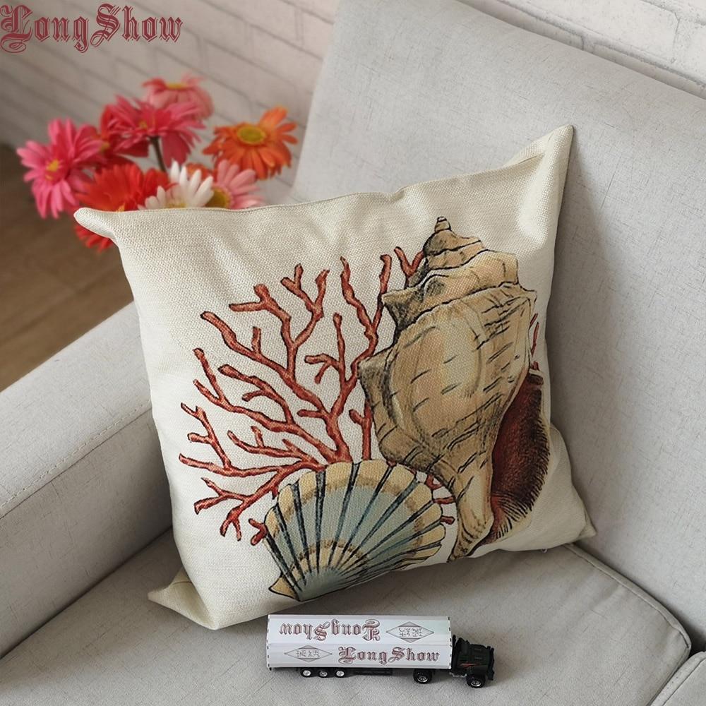 45x45cm Square Home Decorative Sea Style Shell Snail Coral Printing Burap Linen Pillow Case