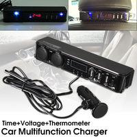 Universal 3 In1 Car 12V/24V Cigarette Lighter Multifunctional 3 USB Charger Digital LED Volt Clock Temperature Multifunctional