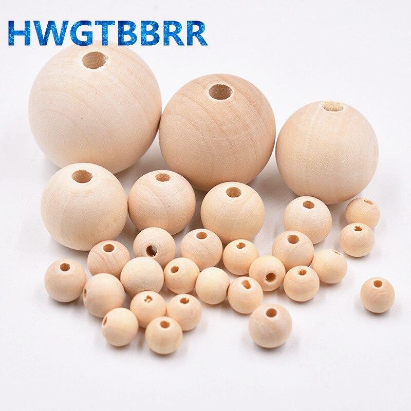 Оптовая продажа, деревянные бусины 4-18 мм натурального цвета, бусины-разделители россыпью для изготовления ювелирных изделий, браслетов, ож...