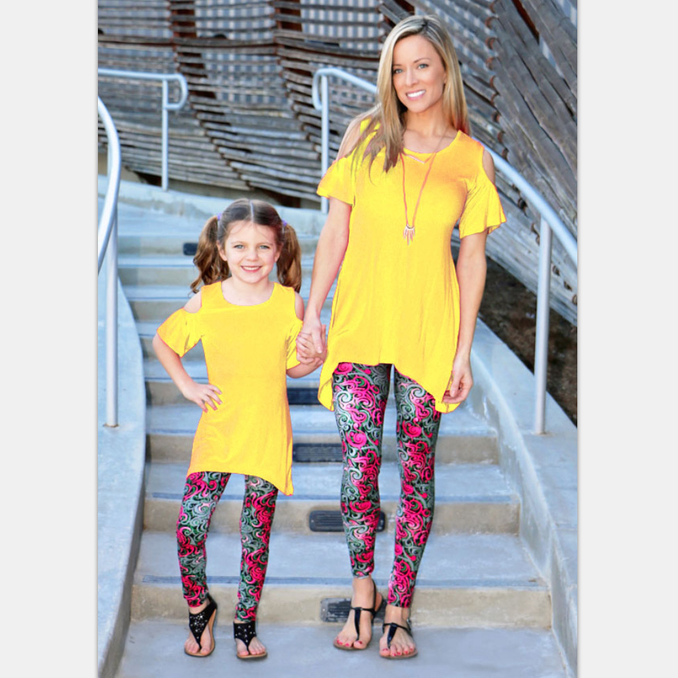 2017 New Mother and Daughter Clothes Capris Leggings ...