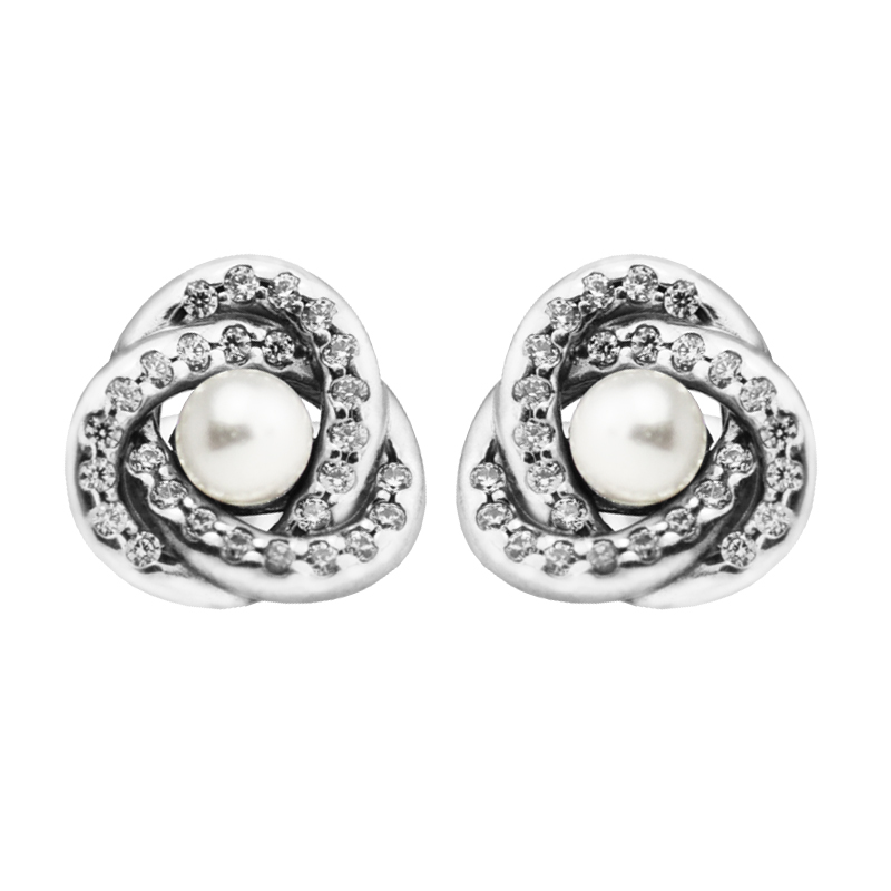 925 Silver Earrings for Women Luminous Love Knots Silver Stud Earrings with White Crystal Pearl and Clear CZ Fine Jewelry FLE087 copper jewelry leopard head hanging pearl stud earrings tiger head green rhinestone black stud earrings for women