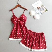 Daeyard Silk Pajamas For Women Polka Dot Sleeveless Pijamas With Shorts Ladies Pyjamas Sexy Lace Sleepwear Suits Home Clothes