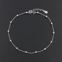 Real Pure 925 Sterling Silver Small Beads Ball Anklet For Women Summer Beach Barefoot Ankle Foot