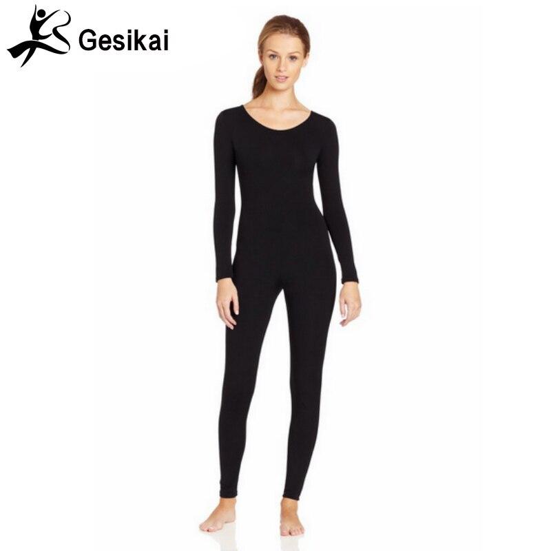 Women Scoop Bodysuit  Neck Back Zipper Jumpsuits Spandex Dance Unitard Womens Gymnastics Costumes