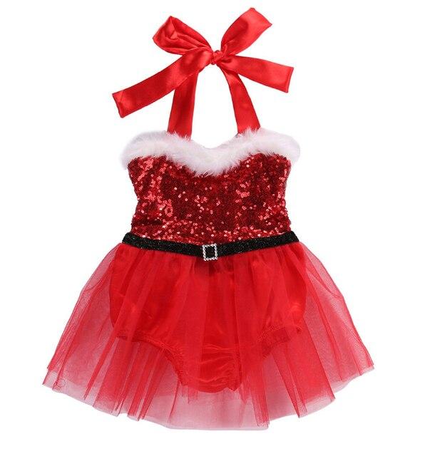 38972365dfb Christmas Newborn Baby Kids Girl Santa Claus Bodysuit Dresses Cute Xmas  Tulle Tutu Dress Halter Sequined Dress Outfits Costume